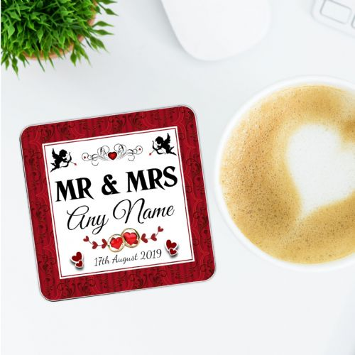 Personalised Mr & Mrs Wedding Coaster N14 -  Sentimental Memories Gift